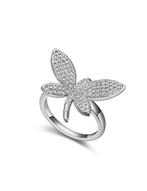 Infinity White Diamond Decorated Dragonfly Shape Design Zircon Crystal Rings