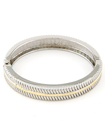 Cherokee Silver Color Round Shape Simple Design Alloy Fashion Bangles