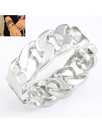 Electronic Silver Color Interlocking Simple Design Alloy Fashion Bangles