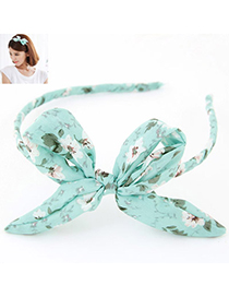Sparking Light Blue Bowknot Decorated Flower Pattern Design Fabric Hair Band Hair Hoop