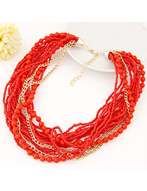 Renaissanc Red Beads Decorated Multilayer Design Alloy Beaded Necklaces