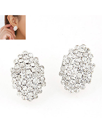 Pewter White Diamond Decorated Geomaterical Shape Design Alloy Stud Earrings