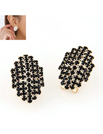 Velvet Black Diamond Decorated Geomaterical Shape Design Alloy Stud Earrings