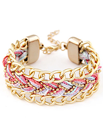 Softshell Pink Rope Weave Simple Design Alloy Korean Fashion Bracelet