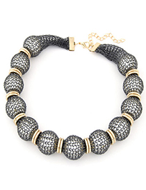 Bulk Gray Pearl Decorated Lace Design Alloy Korean Necklaces