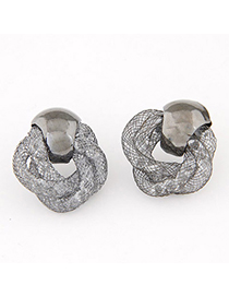Outlook Gray Metal Weave Decorated Simple Design Alloy Stud Earrings