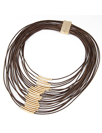 Profession Brown Multilayer Decorated Simple Design Alloy Multi Strand Necklaces