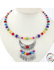 Marvelous Multicolor Beads Decorated Moon Tassel Design Alloy Korean Necklaces