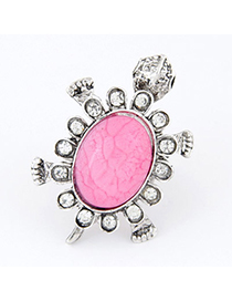 2012 Plum Red Diamond Decorated Tortoise Shape Design Alloy Korean Rings