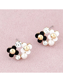 Elastic Black & White Diamond Decorated Flower Design Alloy Stud Earrings