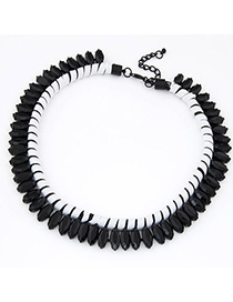 Carters Black Beads Decorated Weave Simple Design Alloy Fashion Necklaces