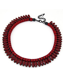 Mobile Claret-red Beads Decorated Weave Simple Design Alloy Fashion Necklaces
