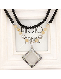 Stationery Silver Color Suqare Pendant Decorated Simple Design Alloy Beaded Necklaces