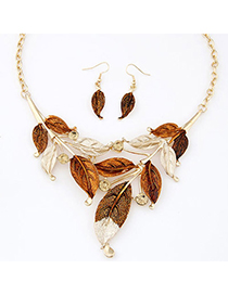 Players Gold Color Diamond Decorated Leaf Shape Design Alloy Jewelry Sets