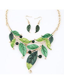 Recycled Green Diamond Decorated Leaf Shape Design Alloy Jewelry Sets