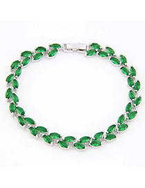 Petite Green Gemstone Decorated Simple Design Alloy Crystal Bracelets