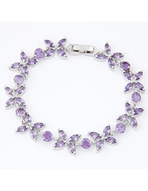 Cherokee Purple Diamond Decorated Flower Design Alloy Crystal Bracelets