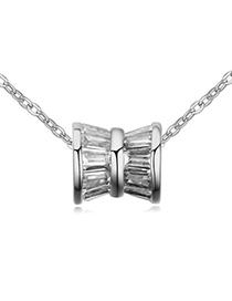Classical White Shaft Shape Pendant Simple Design Zircon Crystal Necklaces