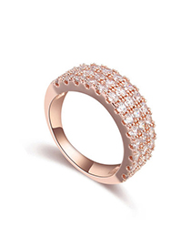 Order White & Rose Gold Diamond Decorated Simple Design Zircon Crystal Rings