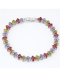 Mini Multicolor Diamond Decorated Round Shape Design Zircon Crystal Bracelets