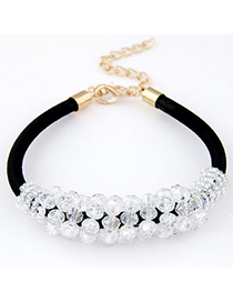 Trendy White Gemstone Decorated Weave Design Alloy Korean Fashion Bracelet