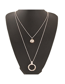 Newborn Gold Color Round Pendant Decorated Double Layer Design Alloy Chains