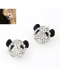2013 Black Diamond Decorated Panda Shape Design Alloy Stud Earrings