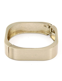 Writing Bronze Pure Color Square Shape Design Alloy Fashion Bangles