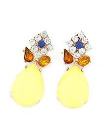 Memorial Yellow Diamond Decorated Waterdrop Shape Design Alloy Stud Earrings