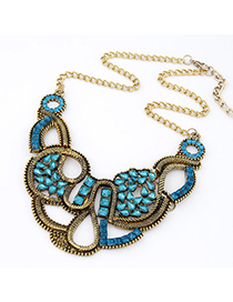 Stationery Navy Blue Gemstone Decorated Weave Design Alloy Bib Necklaces