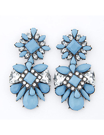 Homecoming Blue Gemstone Decorated Geometrical Shape Design Alloy Stud Earrings