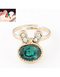 Peterbilt Green Diamond Decorated Rabbit Shape Design Alloy Korean Rings