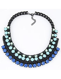 Native Blue Gemstone Decorated Metal Weave Design