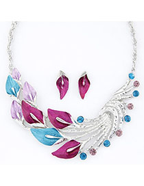 Screw Plum Red & Blue Diamond Decorated Leaf Shape Design Alloy Jewelry Sets