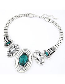Fancy Green Oval Shape Decorated Simple Design Alloy Fashion Necklaces