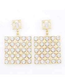 Preppy White Diamond Decorated Square Shape Design Alloy Stud Earrings