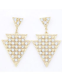 Disposable White Diamond Decorated Triangle Shape Design Alloy Stud Earrings
