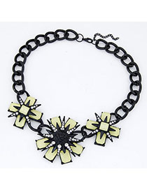 Initial Light Yellow Diamond Decorated Flower Design Alloy Bib Necklaces