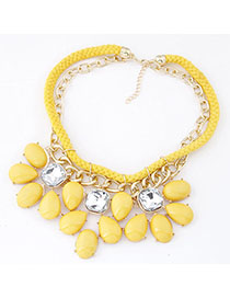 Peterbilt Yellow Gemstone Decorated Double Layer Design Alloy Bib Necklaces