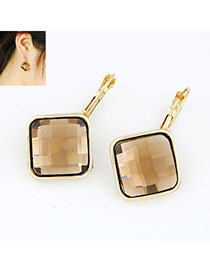 Noble Champagne Gold Square Shape Decorated Simple Design Alloy Stud Earrings