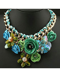 Buckle Green Flower Decorated Weave Design Alloy Bib Necklaces