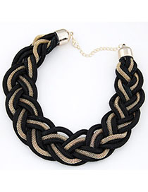 Mobile Black Metal Decorated Weave Design Alloy Bib Necklaces