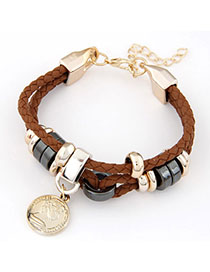 Square Brown Coin Shape Decorated Weave Design Alloy Korean Fashion Bracelet