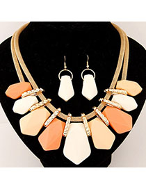 Trendy Beige Candy Color Geometrical Shape Decorated Design