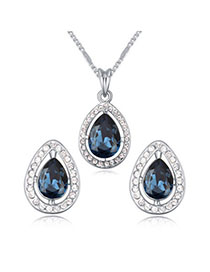 Scene Dark Blue Diamond Decorated Waterdrop Shape Design Alloy Crystal Sets
