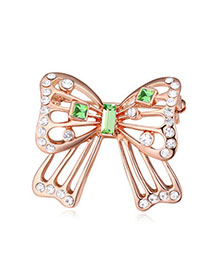 Couture Olive & Rose Gold Hollow Out Butterfly Shape Simple Design Alloy Crystal Brooches