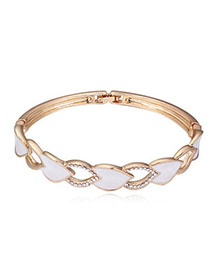 Athletic White & Champagne Gold Diamond Decorated Hollow Out Design Alloy Crystal Bracelets