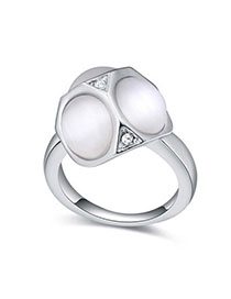 Fishing White Geometrical Shape Decorated Simple Design Alloy Crystal Rings