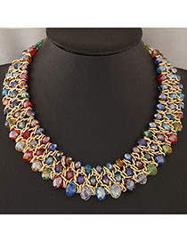 Famale Multicolor Beads Decorated Weave Design Alloy Bib Necklaces