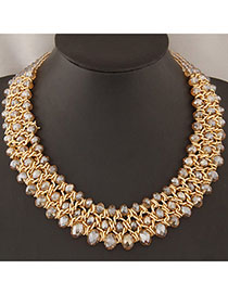Fingerprin Champagne Gold Beads Decorated Weave Design Alloy Bib Necklaces